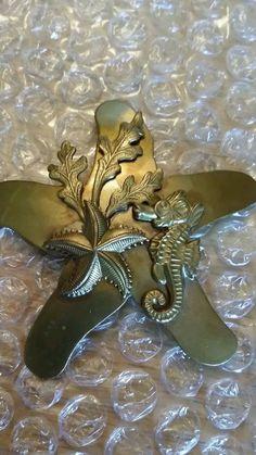 Vintage Starfish, Coral, Seahorse brass brooch