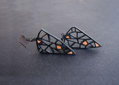Earrings - modern, contemporary jewelry design, FREE Shipping, handmade, unique, lasercut wood, polymer clay, black steel hooks