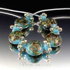 VICKIE LEE Lampwork Beads ~ Turquoise Gold Button Beads SRA