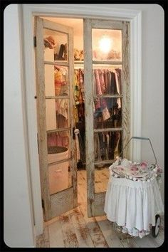 old doors repurposed for closet doors. love this for my house. home decor interior design decoration bathroo. Vintage Closet, Rustic Closet, Old Doors, Barn Doors, Master Closet, Closet Space, Room Closet, Closet Doors, Pantry Doors