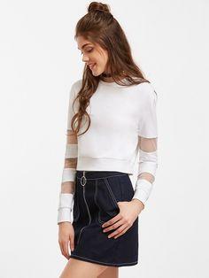Kurzes Sweatshirt 2017 mit Streifen Mesh Ärmel-weiß