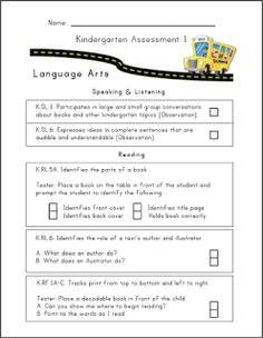 Mrs. Ricca's Kindergarten: Common Core Assessment Packet {Freebies}