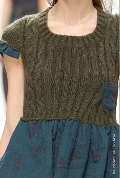 ian mosh. Knit a sweater then sew dress around and into it