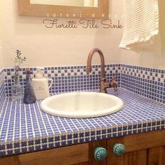 洗面所/フィオレッティ/名古屋モザイクタイル/バス/トイレのインテリア実例 - 2015-06-09 19:22:43 | RoomClip(ルームクリップ) Japanese Style House, Washroom, Mosaic Tiles, Toilet, Sink, Interior Design, Home Decor, Mosaic Pieces, Sink Tops