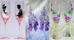 Фужеры для жениха и невесты с рисунками