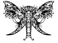 Wings Tattoo Ideas And Their Meanings Elephant Head Tattoo, Elephant Tattoo Design, Tribal Tattoos, Tatoos, Wimpy Kid Series, Tribal Elephant, Cool Tats, Family Tattoos, Tattoo Stencils