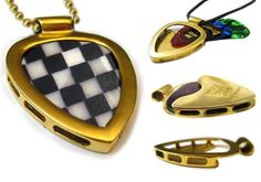 Pickbay Gold IPG guitar pick holder pendant with Vintage Checkerboard Guitar pick! www.pickbay.com