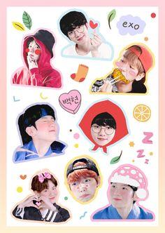 Vou fazer figurinhas com isso qualquer dia Exo Stickers, Tumblr Stickers, Printable Stickers, Cute Stickers, Baekhyun Fanart, Chanyeol, Exo Lockscreen, Exo Fan, K Pop