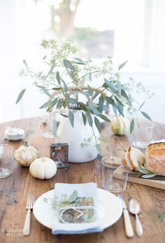 Thanksgiving table ideas: don't use a tablecloth.