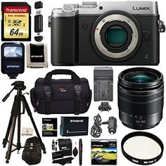 Panasonic LUMIX GX8 Mirrorless Micro Four Thirds Camera (Silver), G Vario 12-60mm f/3.5-5.6 ASPH. POWER O.I.S. Lens, Transcend 64 GB Card, Polaroid Tripod, Polaroid Battery, Charger   Accessory Bundle * You can get additional details at the image link.