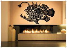 Wall Room Decor Art Vinyl Decal Sticker Mural Devil Fish Deep Sea Bass Big AS338
