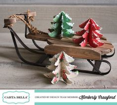 These adorable Christmas Tree paper ornaments were created by Kimberly Crawford for Carta Bella All Things Christmas, Christmas Trees, Christmas Holidays, Christmas Crafts, Christmas Decorations, Xmas, Recycled Decor, Craft Projects, Projects To Try