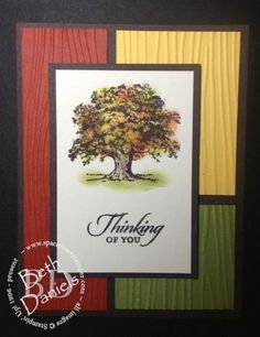 Fall tree color block card using Lovely As a Tree stamp. Colors are sponged using sponge daubers. Making Greeting Cards, Greeting Cards Handmade, Pretty Cards, Cute Cards, Fall Cards, Christmas Cards, Christmas Tree, Stamping Up Cards, Rubber Stamping