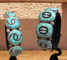 Zuni Vintage Cuff Bracelets - Ellen Quandalacey. http://santafeselection.com/blog/2013/10/21/feed-your-fetish-at-keshi-the-zuni-connection/