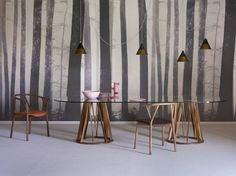 Oval wood and glass table Acco Collection by Miniforms   design Florian Schmid