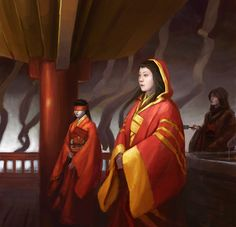 Isawa Mitsuko by Drew Baker for Legend of the Five Rings    Used for another view of Asako Kaitoko in the background.
