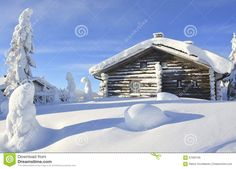Snowy Log Cabin In Lapland Finland Stock Photo - Image: 67060169