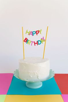 DIY-Happy-Birthday-Cake-Topper...buy these cute plastic letter beads at Michael's!