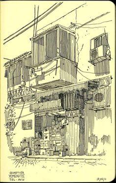 Sketchbook: a year in Jerusalem by Vincent Mahé, via Behance