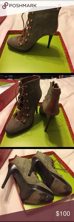 Tory burch boots Great condition. Green suede boots with brown leather and gold accents. Style no 23108686 halima-torys suede size 10 Tory Burch Shoes Ankle Boots & Booties