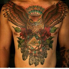 Chest - Lucy Lou @lucyloutattoos - 512 S Independence Blvd Virginia Beach VA #tattoo #tattooartist #tattwho #ink #inked #inkedup #inklife #inkedlife #inklifestyle #inkedlifestyle #tattoos #tattooart #artist #tattoosnob #tatuador #tatted #tattedup #owl #rose #dreamcatcher #virginiabeach #va #virginia