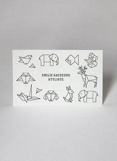 Idées de motifs / cartes de visite business cards papier tigre personnalisation customize origami