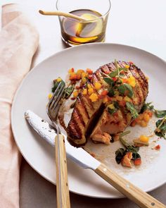 Grilled Salmon with Spicy Honey-Basil Sauce : Cook this grilled salmon with spicy honey-basil sauce on the backyard grill or under the broiler for a quick and easy dinner. You can buy salmon as fillets or as steaks.