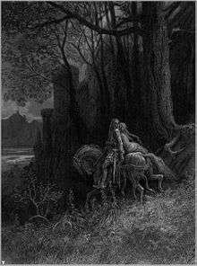 """Idylls of the King """"Geraint and Enid"""" ride away - illustration by Paul Gustave Dore"""
