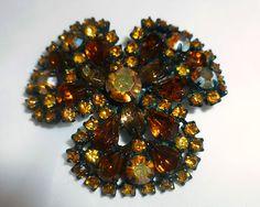 Stunning Signed Weiss AB Amber Rhinestone Flower Brooch   eBay