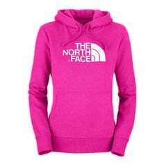 The North Face Women's Half Dome Hoodie ❤ liked on Polyvore featuring tops, hoodies, jackets, shirts, pink hoodie, shirt hoodies, shirt top, shirt hoodie and the north face tops