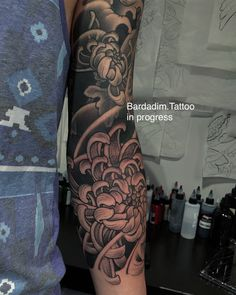Japanese sleeve. Black and grey Japanese sleeve. Chrysanthemums sleeve