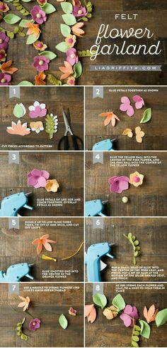 Make your own bright and beautiful felt flower garlandColorful DIY Flower Garland Felt Flower Garland Lia Griffith throughout [keywordFlower Garland Decorative Ideas - Felt Flower Garland Tutorial - Trending decorative uses of flower garlands in G Handmade Flowers, Diy Flowers, Fabric Flowers, Paper Flowers, Paper Flower Garlands, Felt Flowers Patterns, Wedding Flowers, Leaf Patterns, Flower Backdrop