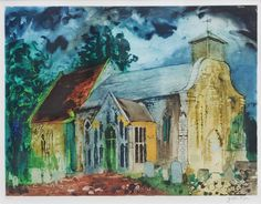 John Piper, Bridgham Parish Church, Norfolk (E. England), etching and aquatint (no. 59 from edition of 70 aside from 15 artist proofs), 57 x 68 cm. Edward Hopper, A Level Art Themes, John Piper Artist, 20th Century Painters, Building Art, Royal College Of Art, London Art, Art Techniques, Landscape Paintings