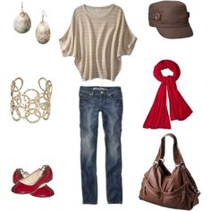 neutrals with pops of red......lminus the hat.