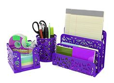 purple office decor. easypag carved hollow flower pattern 3 in 1 desk organizer executive office set letter stacking sorter pen holder and stick note purple decor