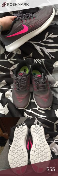 Brand New Very Cute Nikes! Given as a gift too tight across the top of my big feet! Never worn other then to try on. Very comfy wish they fit better- Very pretty pink and gray coloring Nike Shoes Sneakers