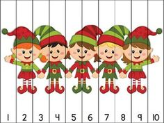 14 Christmas themed puzzles for counting practice with numbers to Simply print, cut apart, and laminate. Great for math centers! Aligned to Kindergarten Common Core Standards. Puzzles included: Counting by 10 puzzles ~ Christmas Puzzle, Christmas Elf, Christmas And New Year, Christmas Themes, Childcare Activities, Kindergarten Activities, Craft Activities, Counting Puzzles, Maths Puzzles