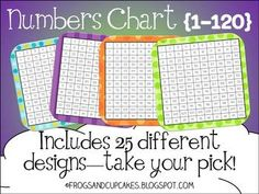 Numbers chart from 1-120 available in 25 different styles.  Free download