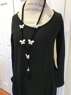 SALE/Exquisite black crystal beaded long tassel necklace