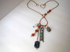Statement necklace, pendant necklace, tribal jewelry, ethnic jewelry, hand hammered copper... by BeAditudes4U on Etsy