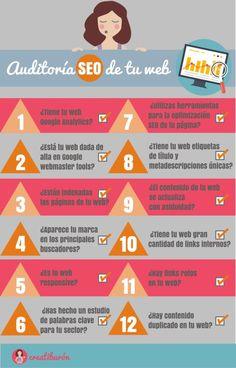 #Infografía sobre cómo hacer una Auditoria #SEO de tu #web en 12 pasos. Información más extendida en el artículo. Haz click en la imagen :)