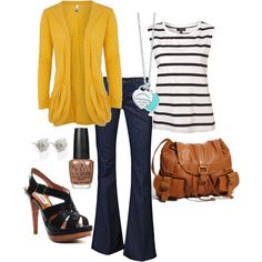 spring outfit with yellow cardigan