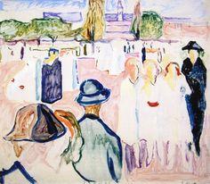 "igormaglica: ""Edvard Munch Summer on Karl Johan Street, Oslo, oil on canvas "" Oslo S, List Of Paintings, Edvard Munch, Scandinavian Modern, Kind Words, Art Museum, Printmaking, Oil On Canvas, Modern Art"