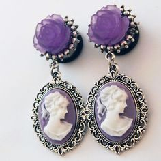 Pretty colorful cameo dangle plugs by glamsquared.com