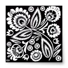 Polish Folk Art Black & White Luncheon Napkins, Set of 20