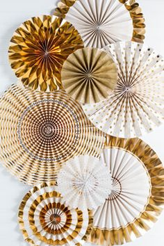 Fancy Party Fans Rosette Pinwheels Gold & White, Wedding Decorations, 8 Fans, MME