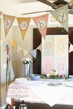 Shabby chic baby shower banner, etc.