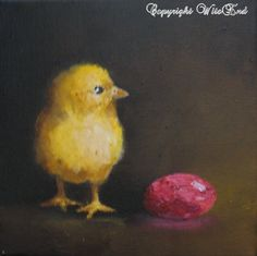 Chick and pink foil wrapped chocolate egg painting still life baby chicken by 4WitsEnd via Etsy