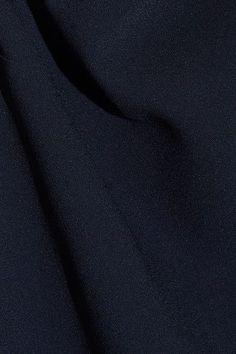 Miu Miu - Embellished Ruffled Silk-trimmed Crepe Top - Navy