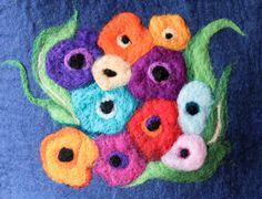 Poppies Tote Felt wool colorful handbag flowers by adairya2, $42.00